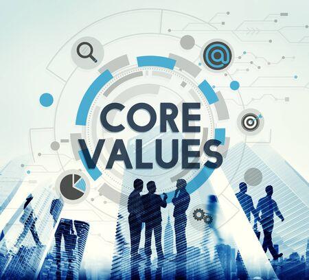 valores morales: Principios B�sicos Valores ideolog�a Concepto prop�sito moral Foto de archivo