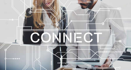 associated: Connect Associated Social Networking Togetherness Concept