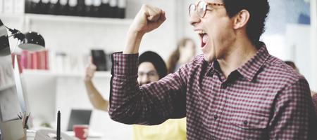 gente exitosa: Celebración Éxito Trabajo concepto de éxito Foto de archivo
