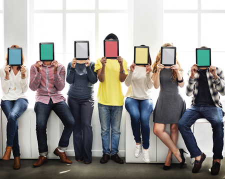 young adults: People Holding Tablet Social Media Concept