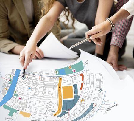 urban planning: City Urban Blueprint Plan Infrastacture Concept Stock Photo