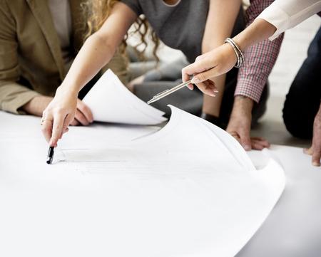 Las ideas de diseño en el pensamiento creativo diseño Concept Foto de archivo
