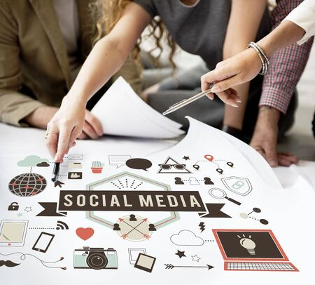 global communication: Social Media Connection Global Communication Concept Stock Photo