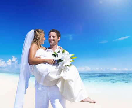 pre adult: A couple wedding on the beach love concept