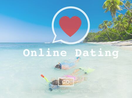 courting: Online Dating Courting Online Messaging Social Network Concept