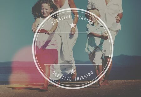 playful: Family Running Playful Vacation Beach Badge Concept
