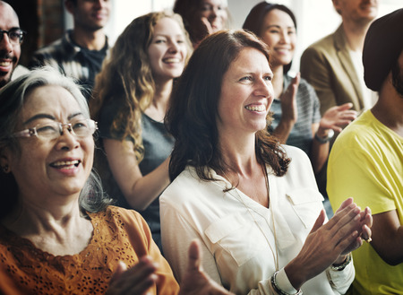 laugh: People Audience Diversity Group Presentation Concept