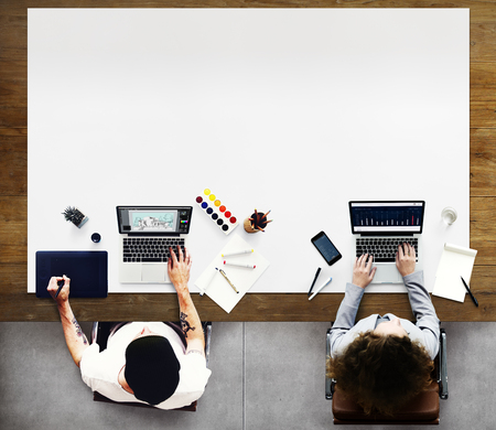 colleagues: Colleagues Busy Working Laptop Office Concept