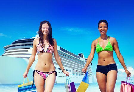 bikini island: Women Bikini Shopping Bags Beach Summer Concept