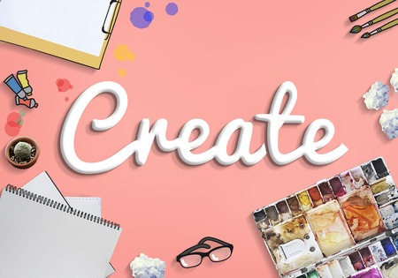 Artist workspace with the word Create Foto de archivo - 109217710