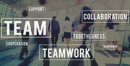 city building: Team Building Collaboration Connection Corporate Teamwork Concept