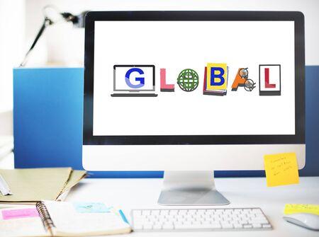 tech no: Global International Universal World Concept Stock Photo