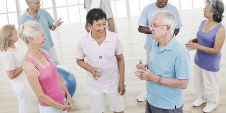 activity: Exercise Balance Senior Adult Workout Activity Gym Concept Stock Photo