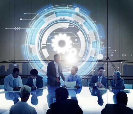 asian business man: Technology Digital Network Cog Teamwork Concept