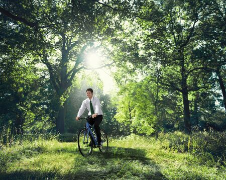 environmental conversation: Businessman Working With The Nature Concept Stock Photo