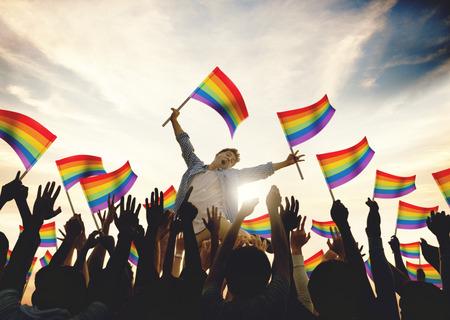 Celebración Comunidad Concepto Arco Iris Banderas Apoyo Foto de archivo