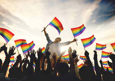 Community Celebration Rainbow Flags Ondersteuning Concept Stockfoto