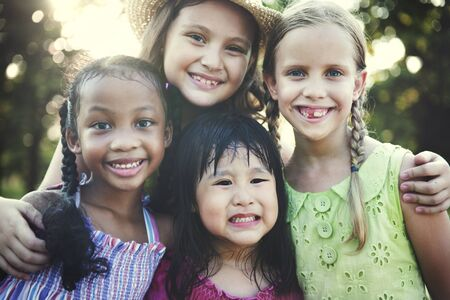 summer nature: Girls Children Friends Smiling Happiness Concept
