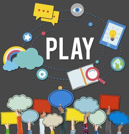 enjoyment: Play Playful Enjoyment Imagination Create Concept