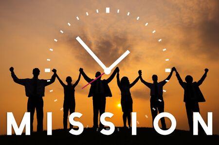 mision: Objetivos de motivación Misión Objetivo aspiración Concept Foto de archivo
