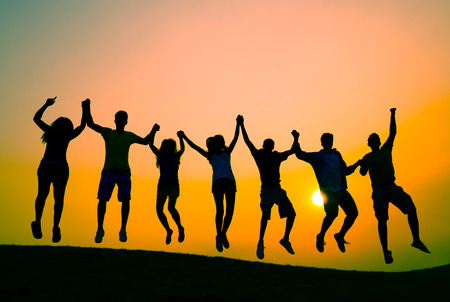 group of hands: Students Youth Jumping Fun Celebration Concept