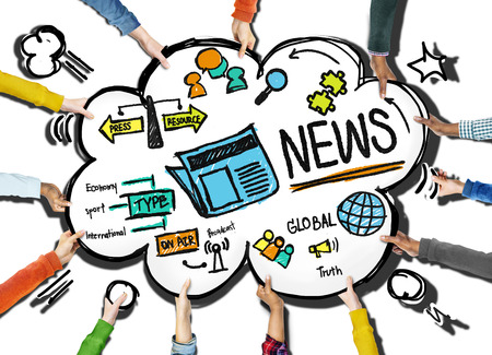 news update: News Journalism Information Publication Update Media Advertisment Concept Stock Photo