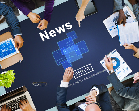 networking people: News Broadcast Information Report Update Communication Concept Stock Photo