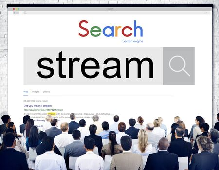 live stream listening: Stream Broadcasting Multimedia Live Online Concept Stock Photo