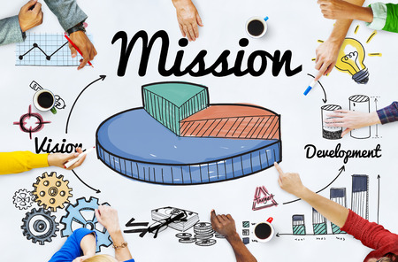 mision: Misi�n Objetivo Objetivos Aspiraciones Concepto de motivaci�n Foto de archivo