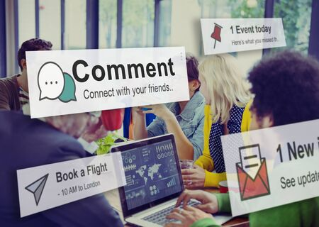 statement: Comment Communication Social Media Response Statement Concept Stock Photo