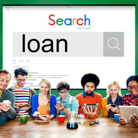 loaning: Team Using Technology Browsing Search Working Concept Stock Photo