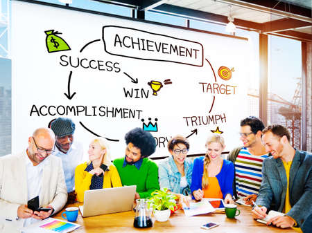 skills diversity: Achievement Target Accomplishment Goal Success Concept Stock Photo