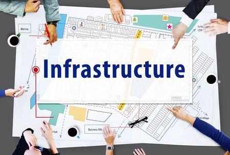 infraestructura: Infraestructura de la ciudad Plan de concepto de dise�o Localizaci�n Foto de archivo