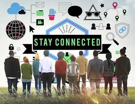 facing backwards: Stay Connected Social Media Technology Innovation Concept