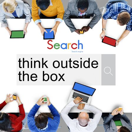 think outside the box: Think Outside the Box Idea Startup Creativity Innovation Concept