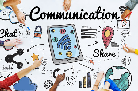 technology to communicate: Communication Connection Social Network Concept Stock Photo