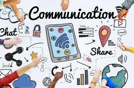 Concepto Conexión de Red y Comunicación Social Foto de archivo - 53755187