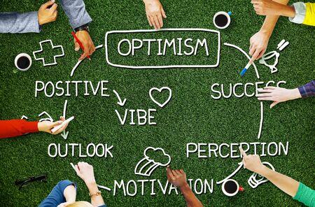 perception: Optimism Positive Outlook Vibe Perception Vision Concept Stock Photo