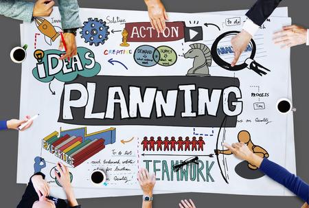 plan de accion: Planificaci�n Ideas de acci�n Estrategia Concepto Trabajo en equipo Foto de archivo