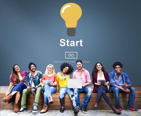 Start Begin Activation Begin First Build Forward Concept Stock Photo