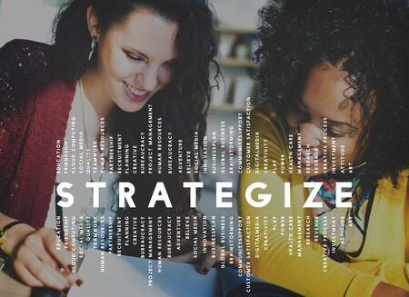 planificacion estrategica: Elaborar estrategias estratega tácticas estratégicas visión del concepto Foto de archivo