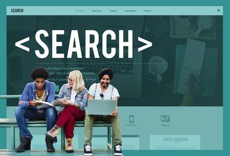 Rechercher Rechercher Exploration Découvrir Inspecter Trouver Concept Banque d'images