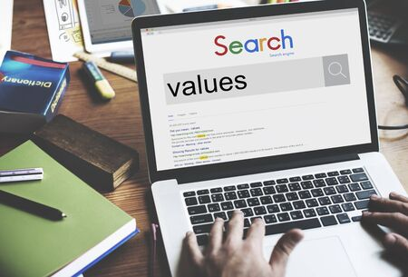 core strategy: Values Evaluate Price Rate Cost Worth Spent Economy Concept Stock Photo