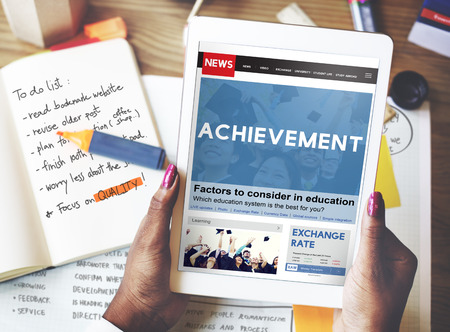 attainment: Achievement Attainment Success Victory Concept Stock Photo