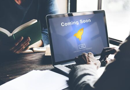 website window: Coming Soon Opening Promotion Announcement Concept Stock Photo