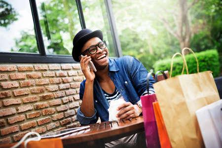 shopaholism: Man Relaxation Coffee Cafe Shopping Bag Concept