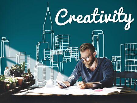 place of research: Creative Creativity Ideas Innovation Development City Concept