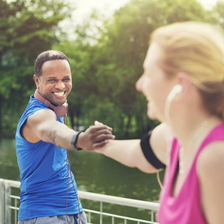 playlist: Couple Exercise Playlist Happiness Wealth Health Concept