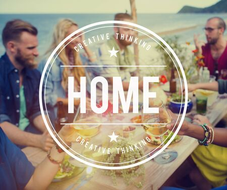 family and friends: Home House Family Address Living Concept Stock Photo