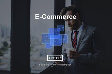 web commerce: E-Commerce Online Marketing Website Connect Concept